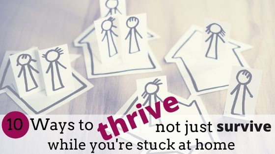 Hand drawn figures inside houses. How to thrive during virus lockdown.
